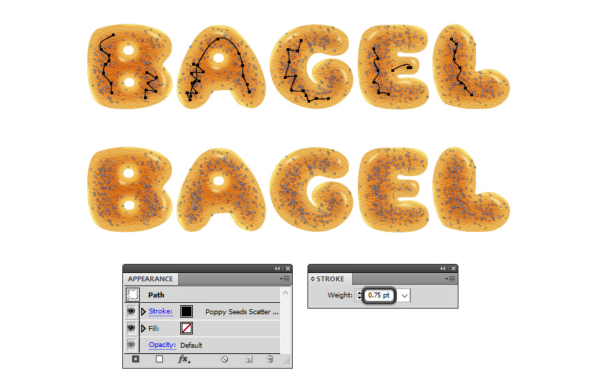 how to add more poppy seeds on bagel letters