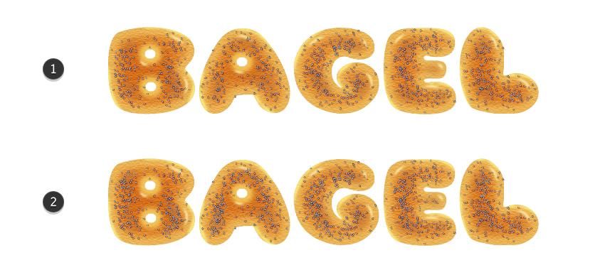before and after image of bagel letters with poppy seeds