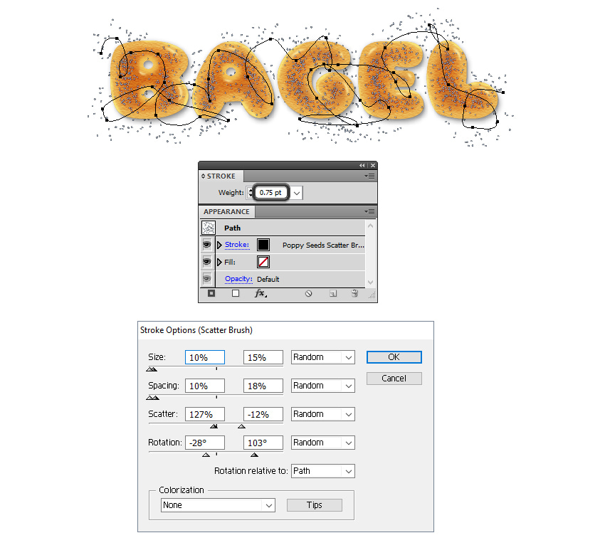 how to add extra poppy seeds behind bagel letters
