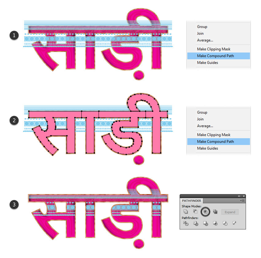 how to create a mask shape for the decorative stripe on sari text