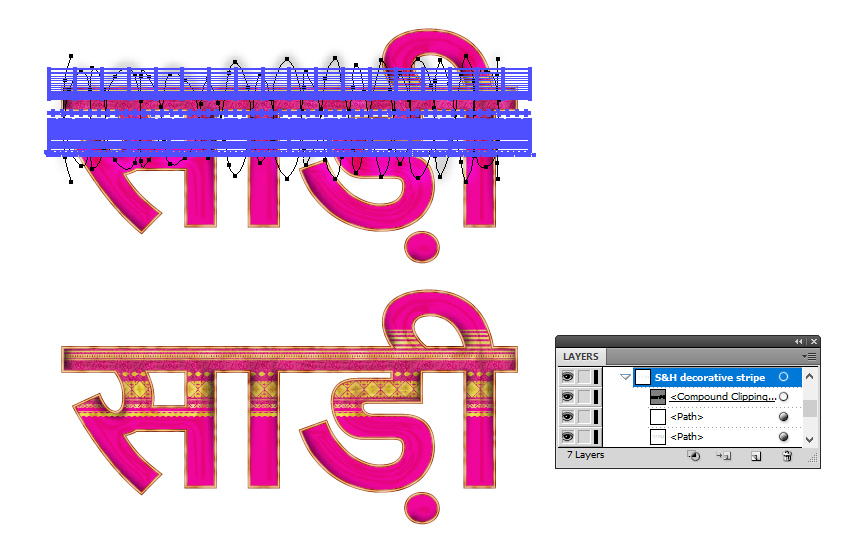 how to mask shading  highlights on the decorative stripe on sari text