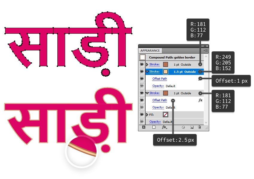 how to create the golden border around the sari text