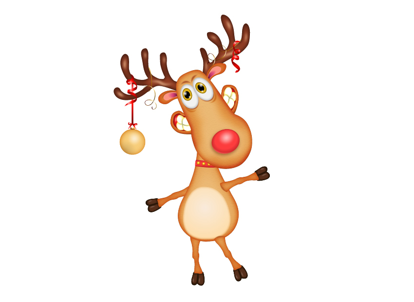 reindeer cartoon character with decorated horns