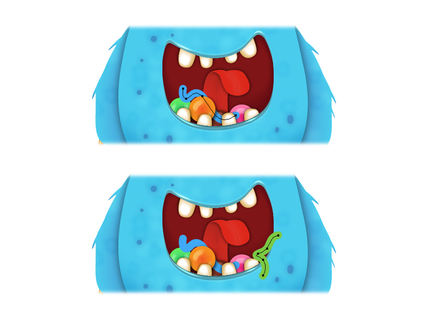 how to draw the jelly worm paths inside monsters mouth