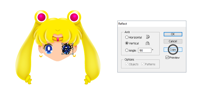how to create sailor moons left eye
