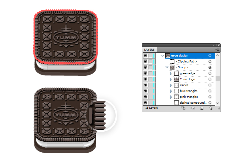 how to mask the Oreo design shadow