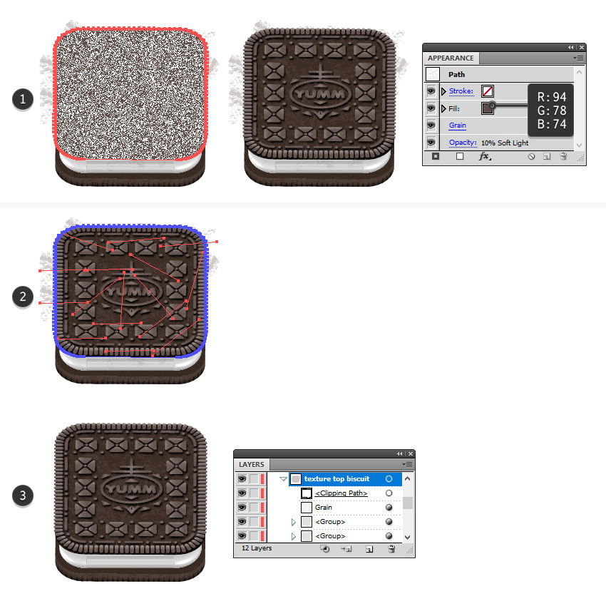 how to mask textures on Oreo top biscuit