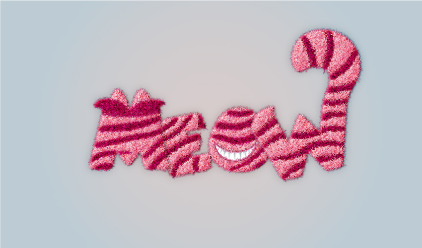 Cheshire Cat inspired text effect final image