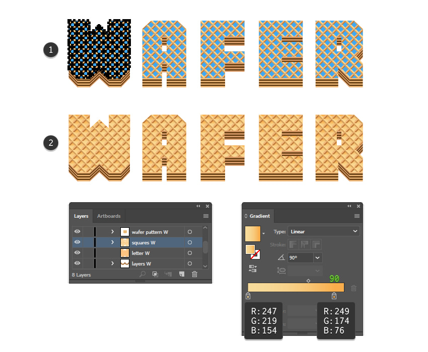 how to color the wafer squares