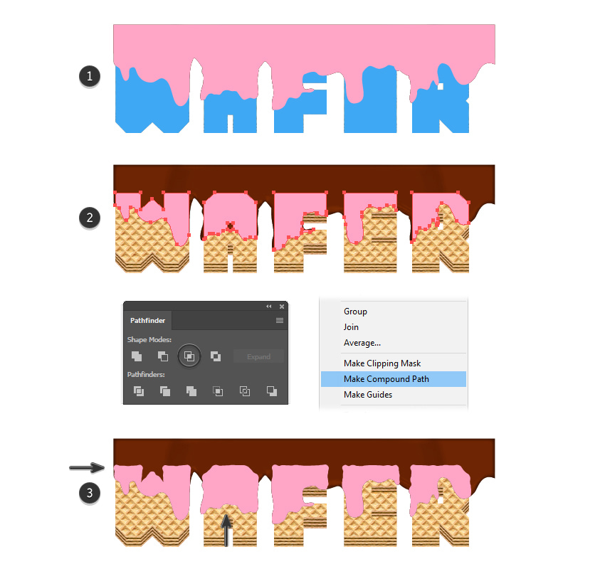 how to create a melted chocolate masking shape