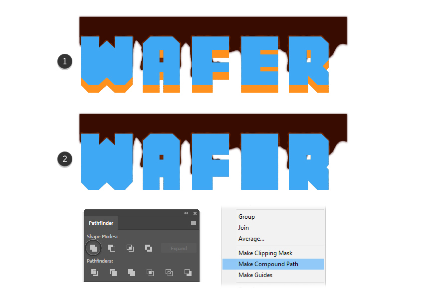 how to create new wafer letters compound path