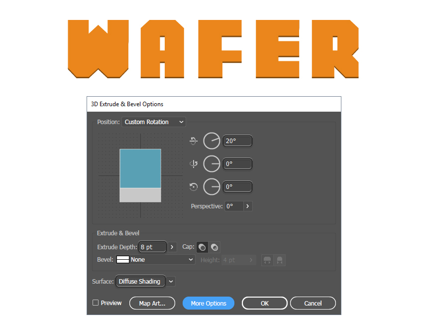 how to apply 3D effect to wafer letters