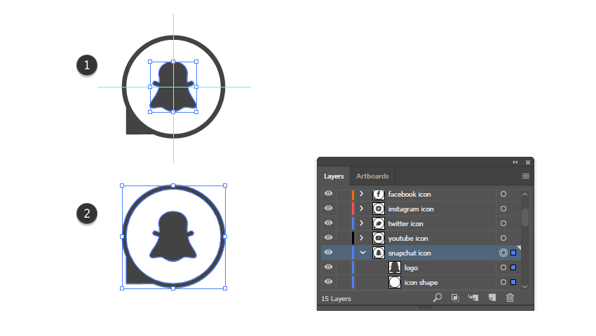how to complete the Snapchat vector icon