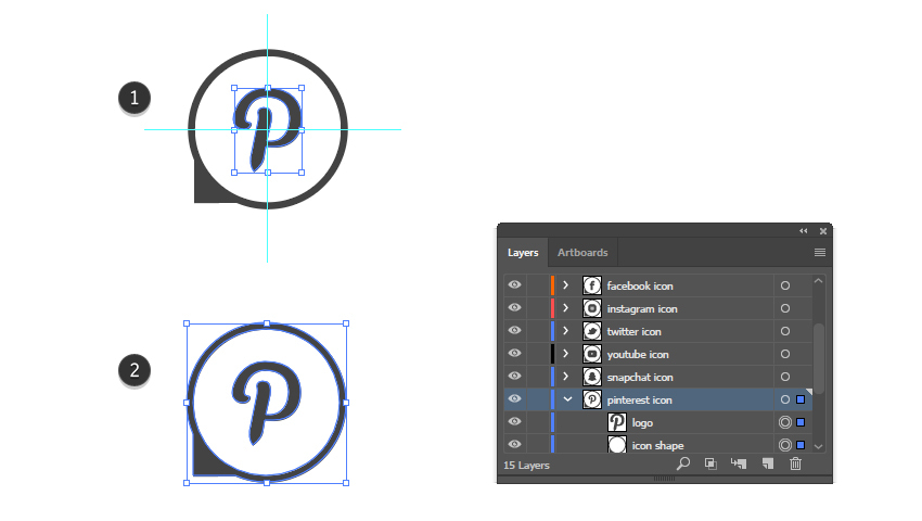 how to complete the Pinterest vector icon
