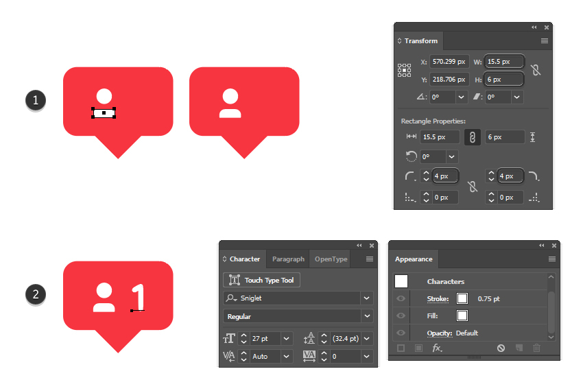 how to create a vector new follower icon