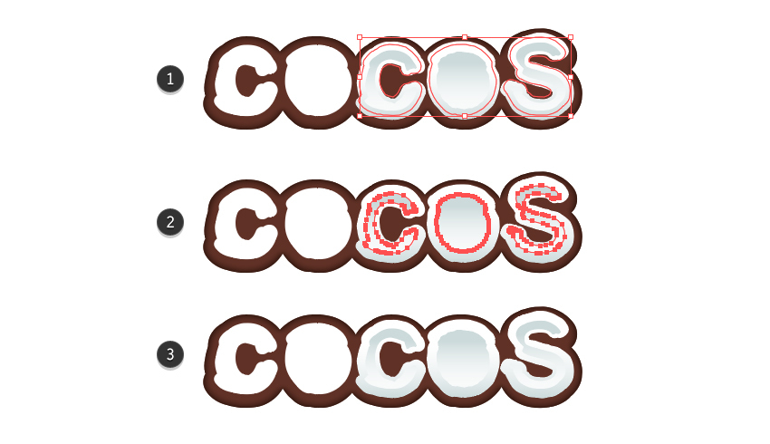how to create the inside coconut flesh for letters C OS