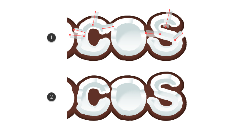 how to create the broken coconut look for letters C and S