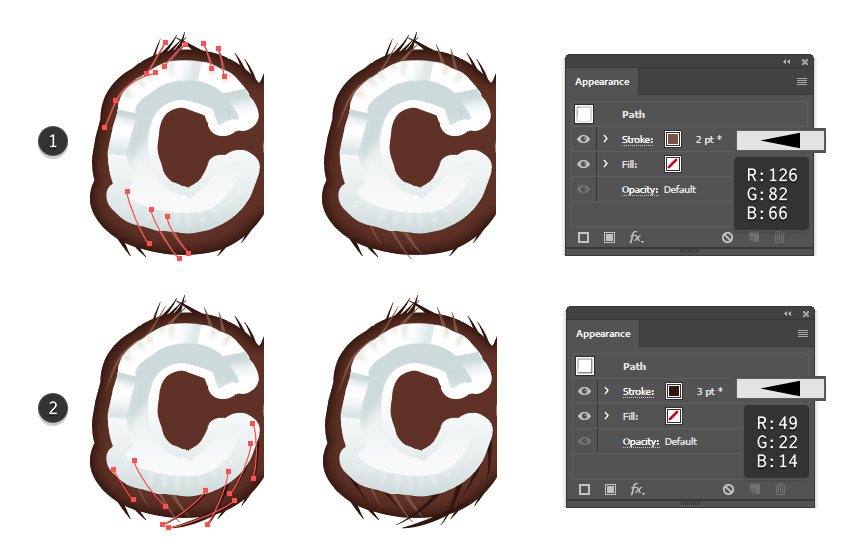 how to create more fibers on the coconut shell for letter C
