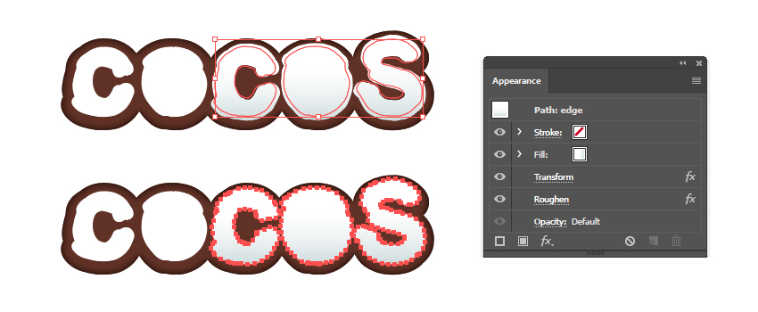 how to create the coconut flesh edge for letters C O S
