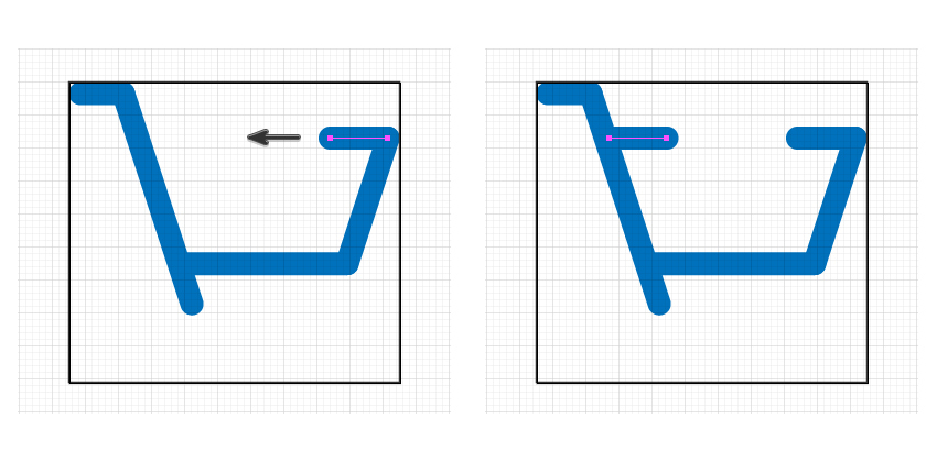 how to create the back edge of purchase icon
