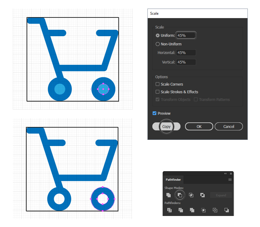 how to cut the wheels of the cart minimal icon