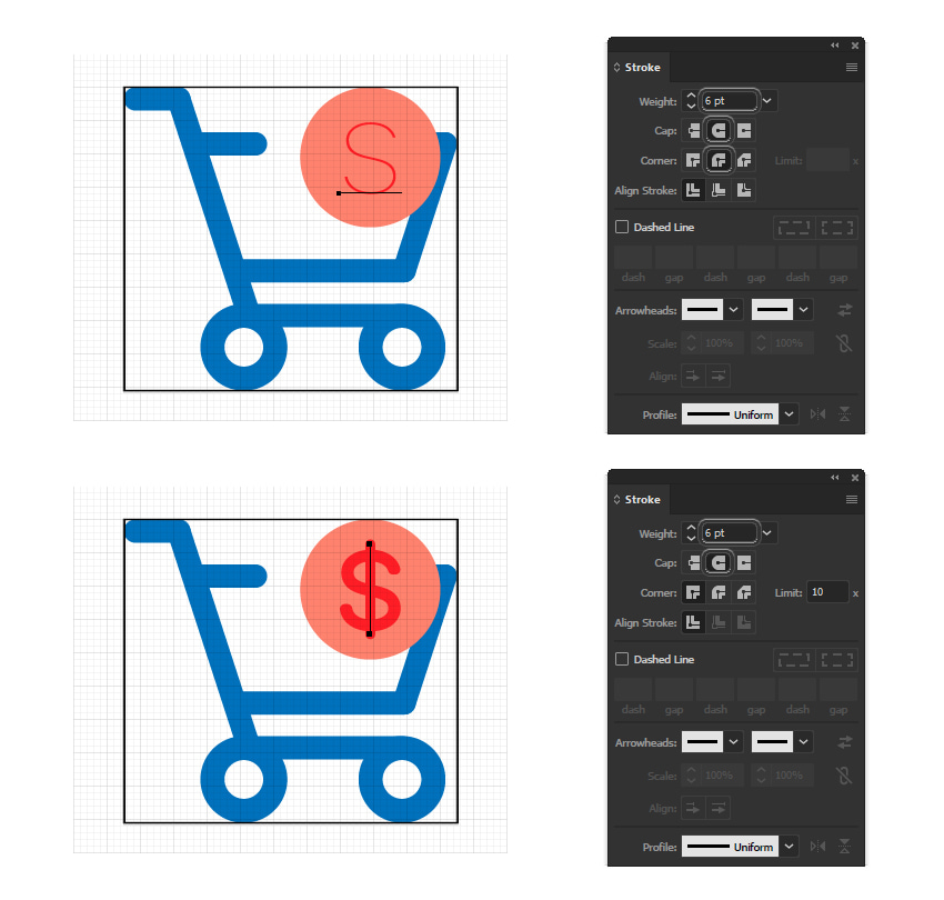 how to create a dollar minimal icon