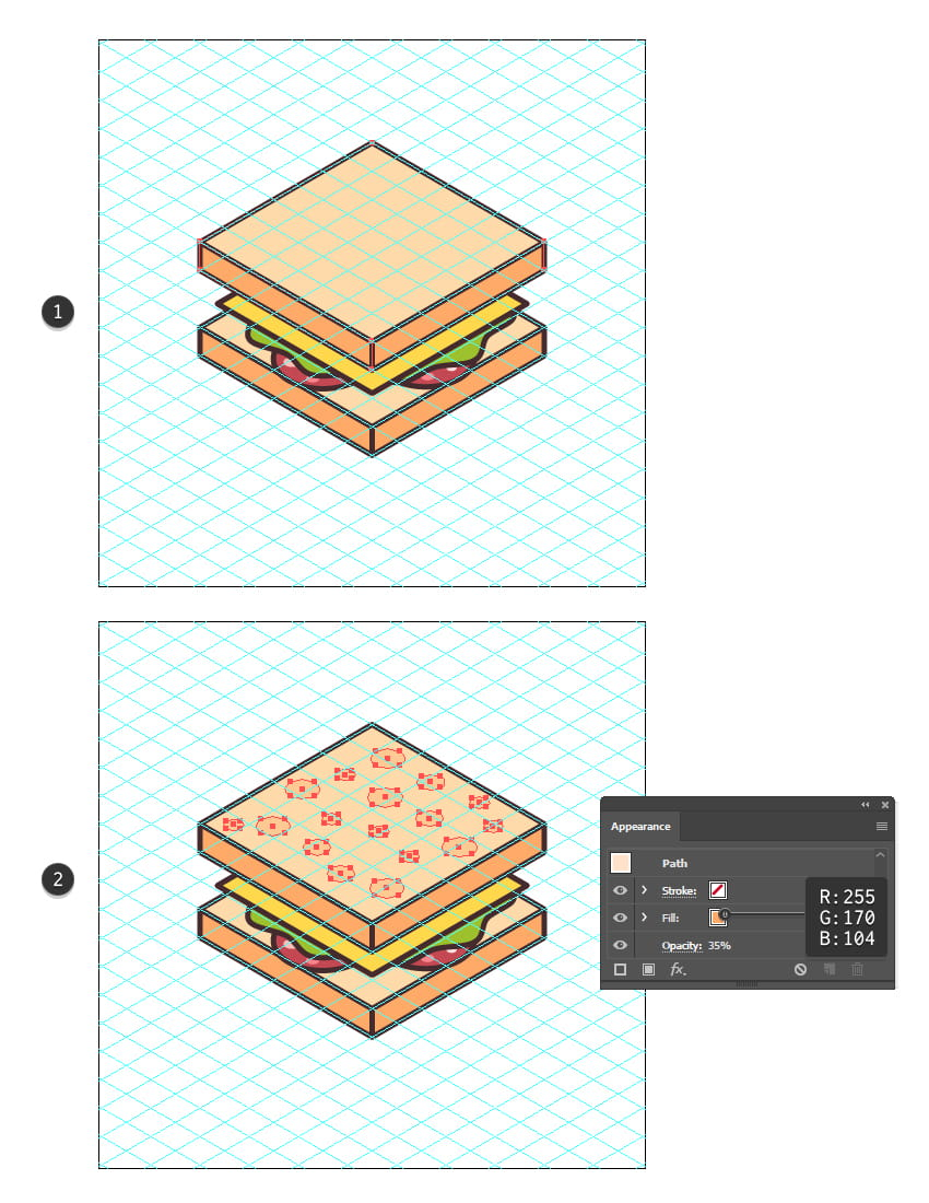 how to create the top bread of the sandwich icon