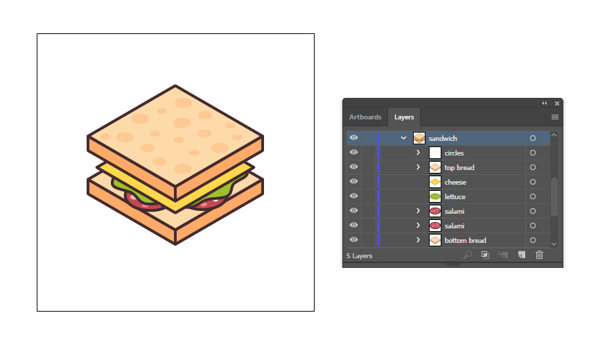final image of the isometric sandwich food icon