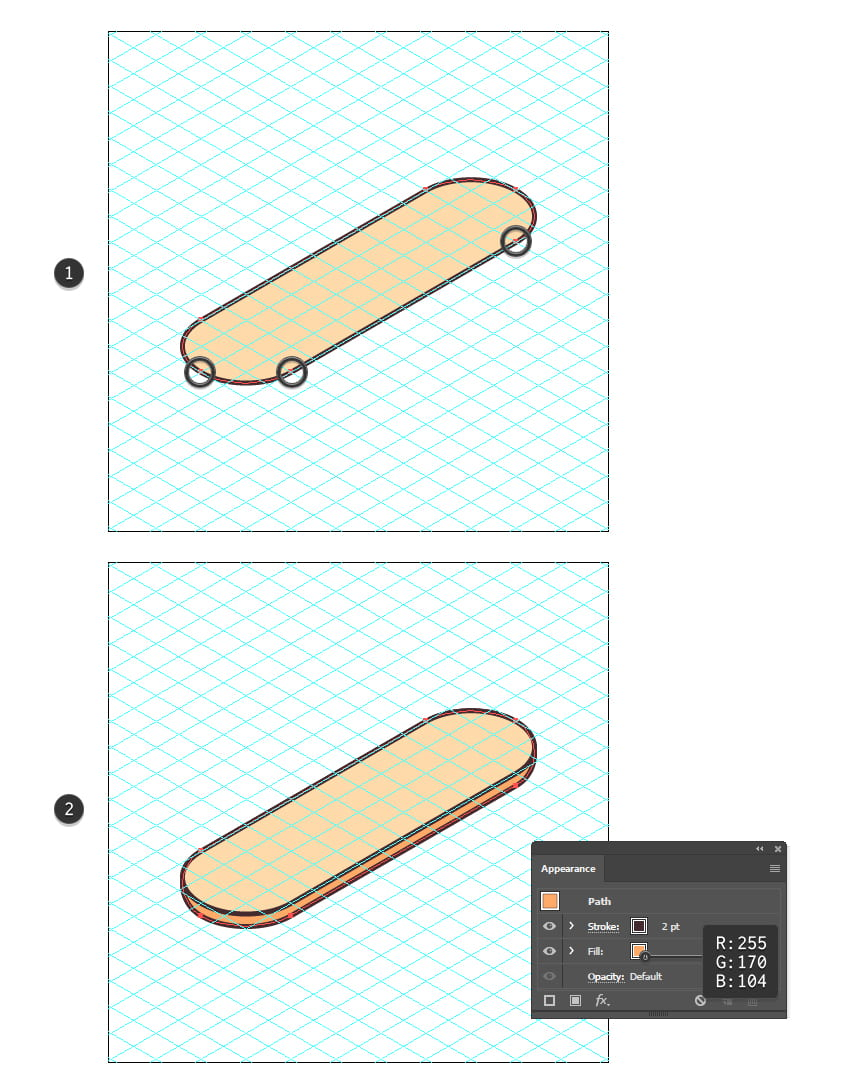 how to create the bottom bun of the isometric food icon
