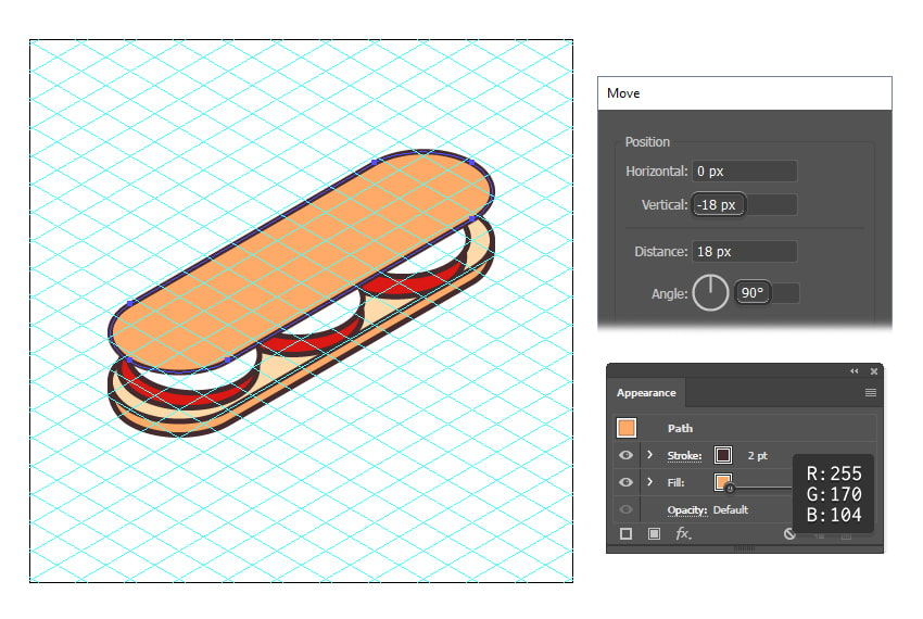 how to create the top bun of the isometric food icon