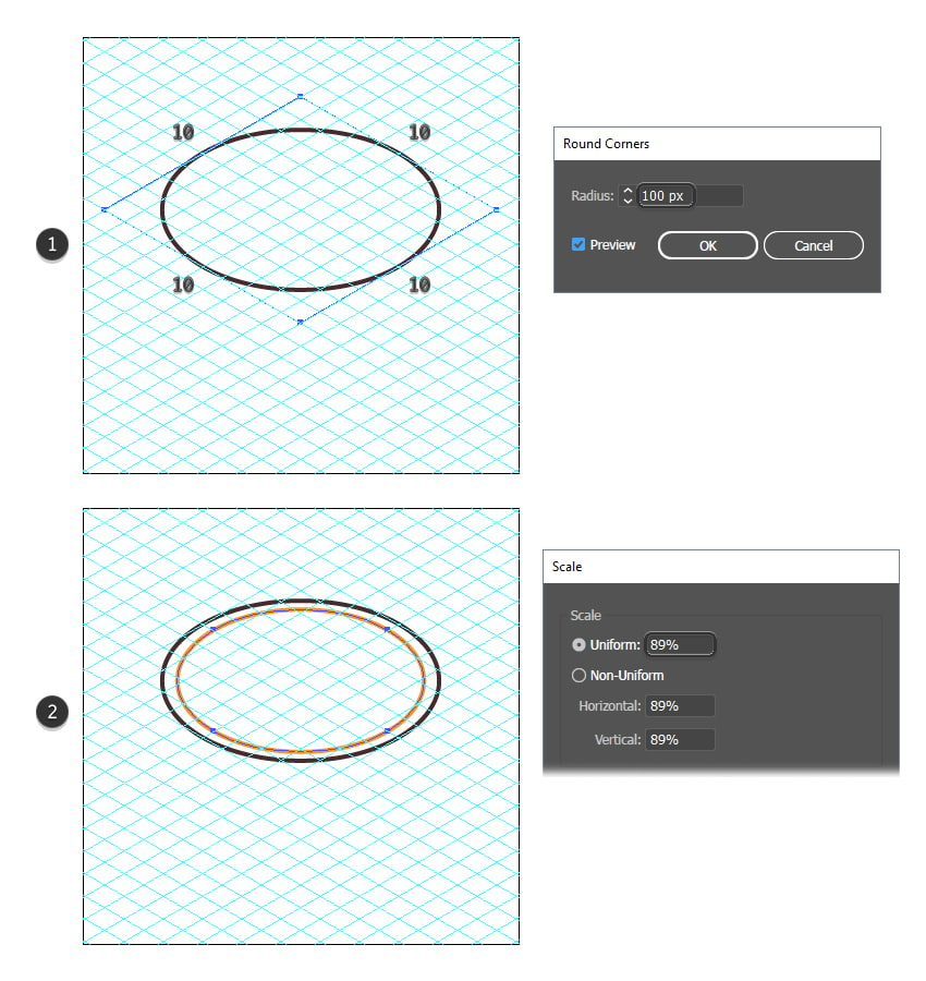 how to draw a circle using the isometric grid in Illustrator