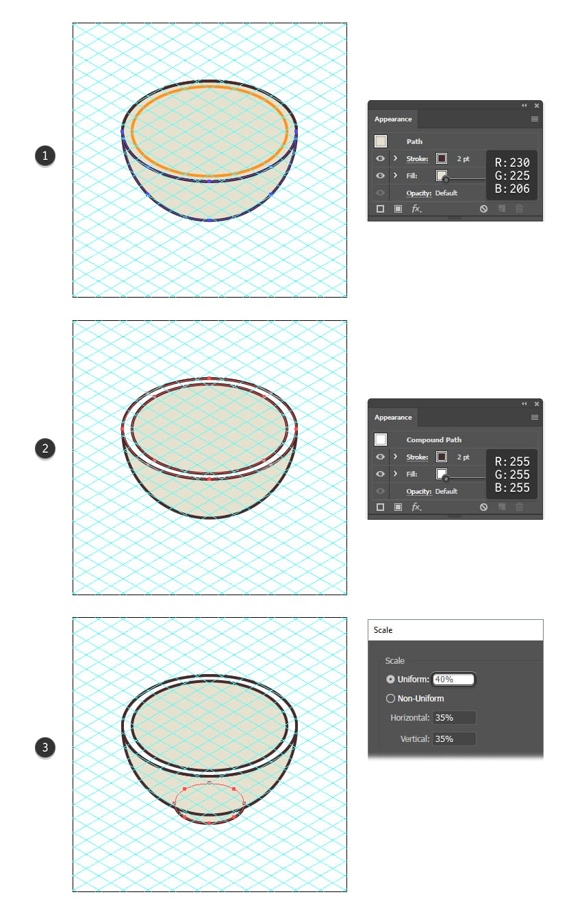 how to color the soup bowl shapes