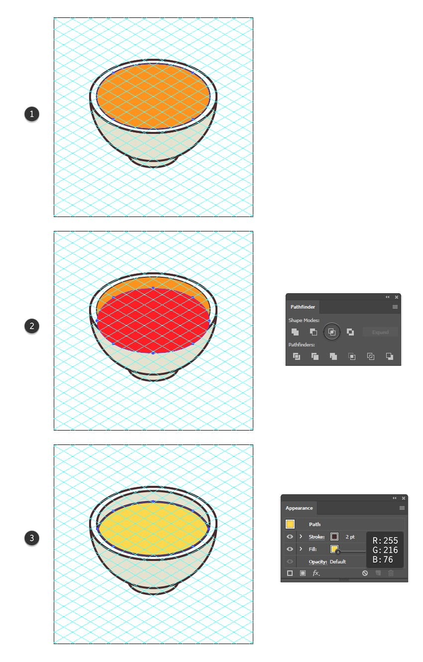 how to create the soup shape of the isometric food icon
