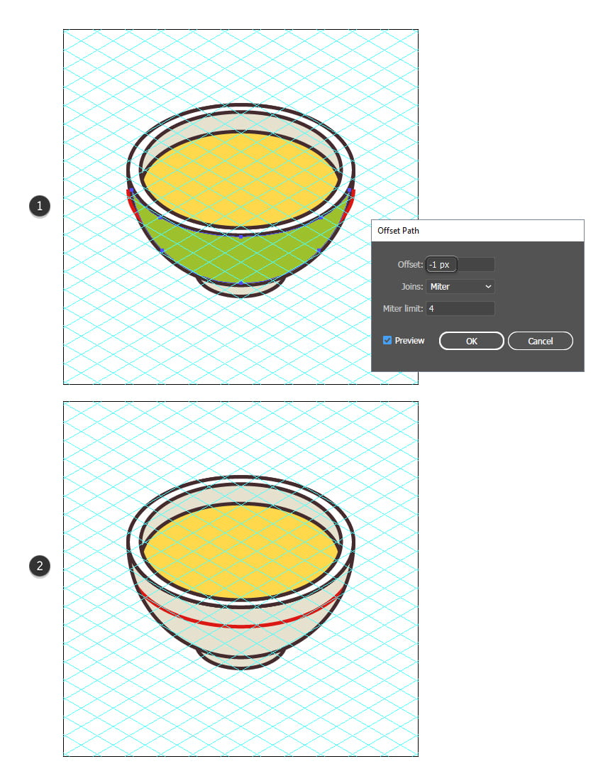 how to finalize the soup bowl of the isometric food icon