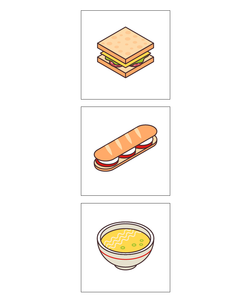 final image of the artoards and isometric food icons