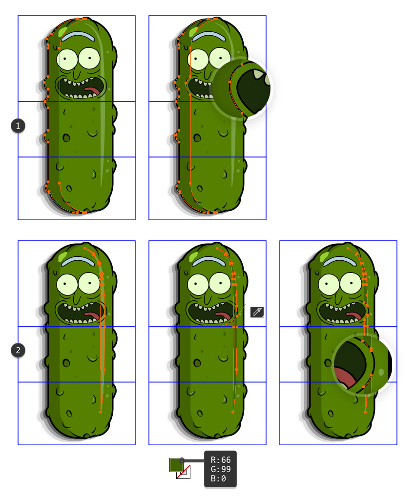 how to adjust the Pickle Rick pattern brush