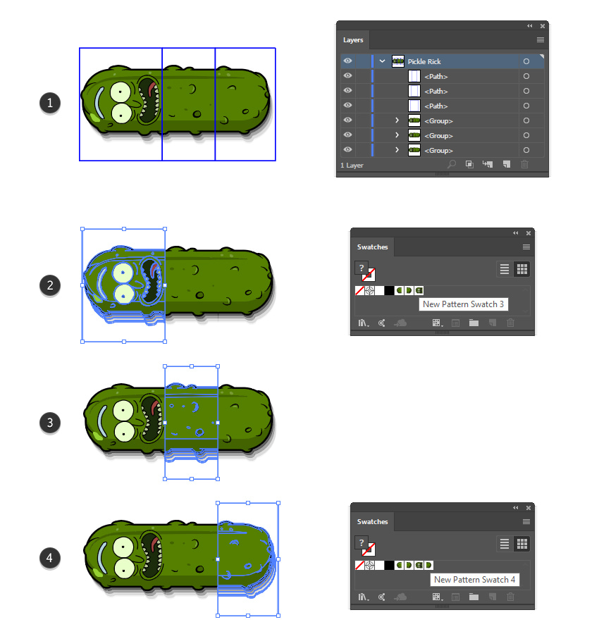 how to create the start side and end sections of Pickle Rick illustrator brush