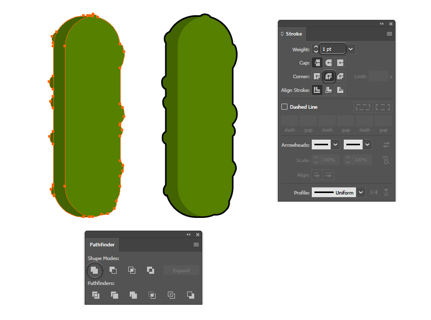 how to create the outline of the pickle pattern brush