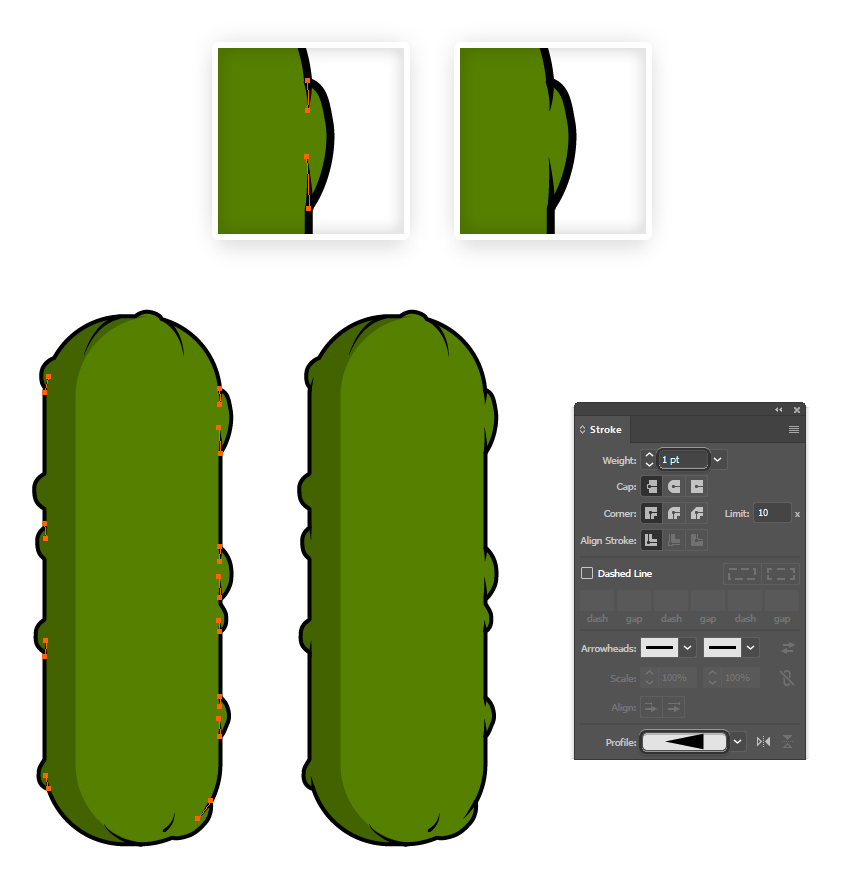 how to add detail lines on the pickle pattern brush