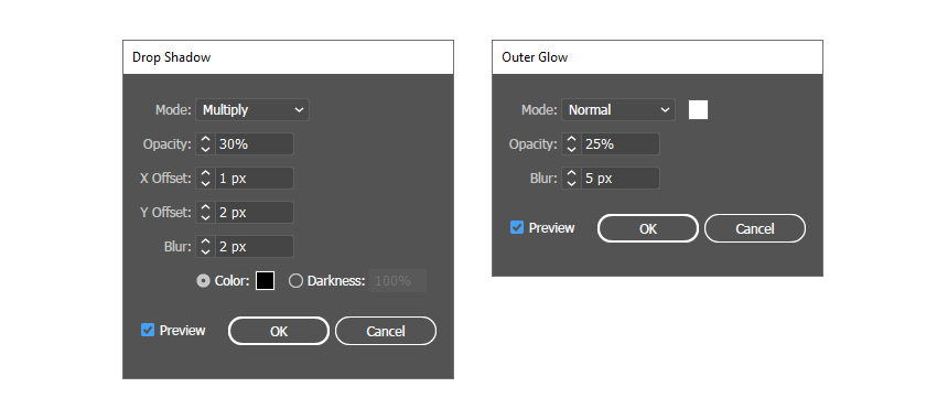 settings for Drop Shadow and Outer Glow effects
