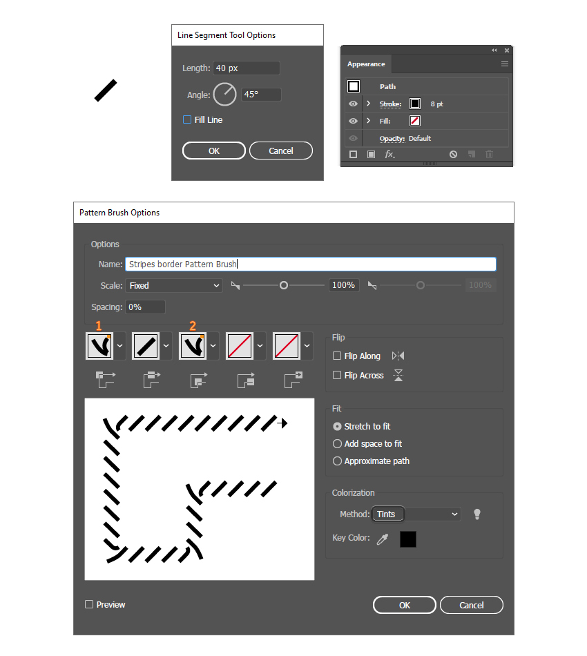 how to create a simple stripes pattern brush in Illustrator