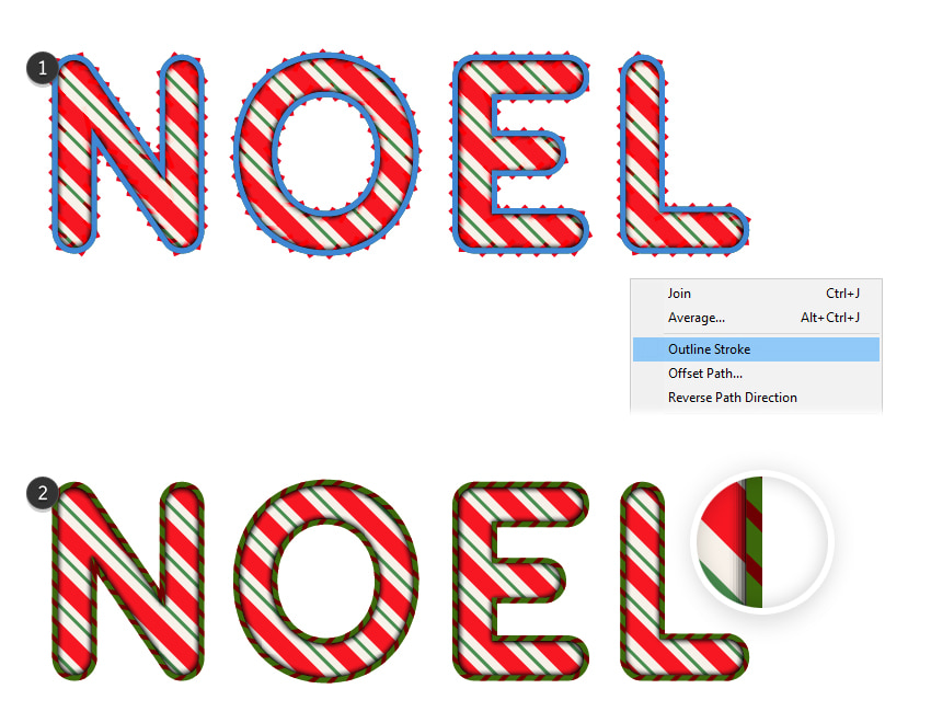 how to create the stripes border around the text effect