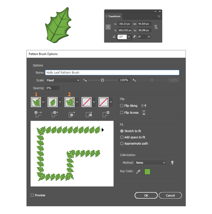 how to save a leaf pattern brush in Adobe Illustrator