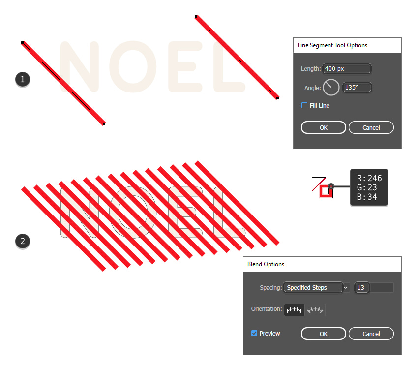 how to create the red stripes on the text effect