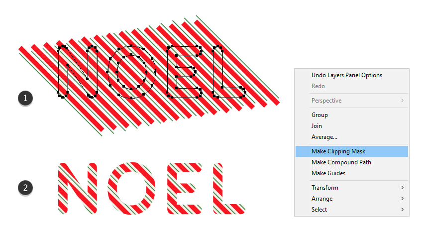 how to mask stripes on the text effect