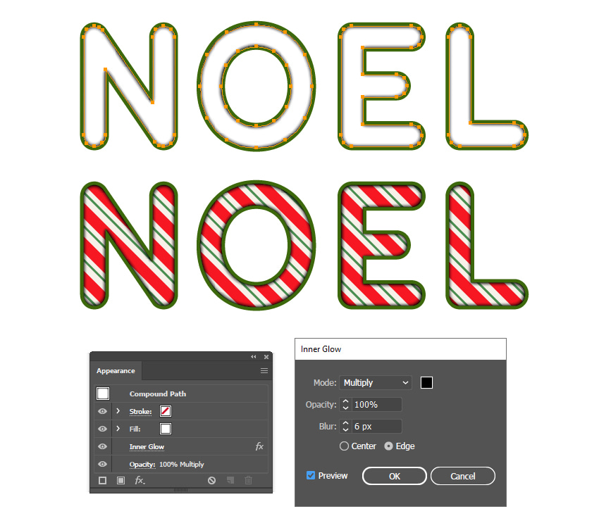 how to create inner shadow on the text effect