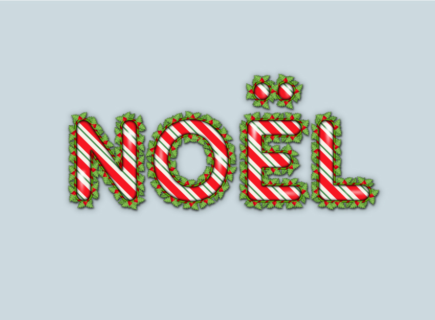 Illustrator text effect with stripes and holly berry final image