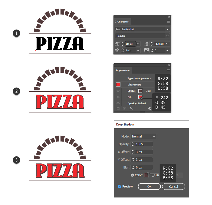 How to create the pizza text for the custom box design