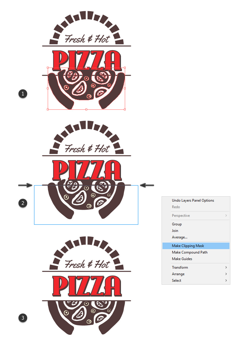 How to mask the custom pizza logo design
