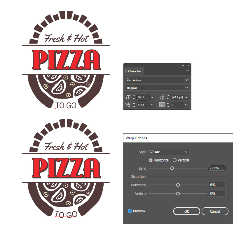 How to add more text into the pizza box design